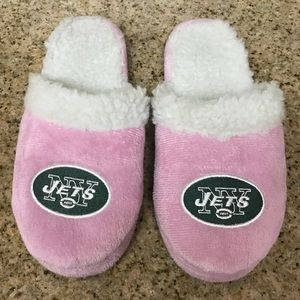 Shoes - Women's Baby Pink Jets Logo Slippers, Sz 8